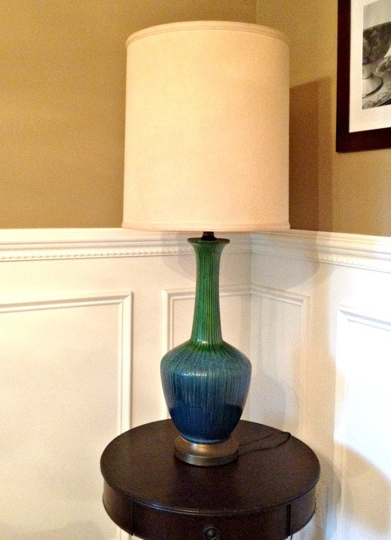 Large Teal Mid Century Modern Table Lamp Retro Vase Urn Style