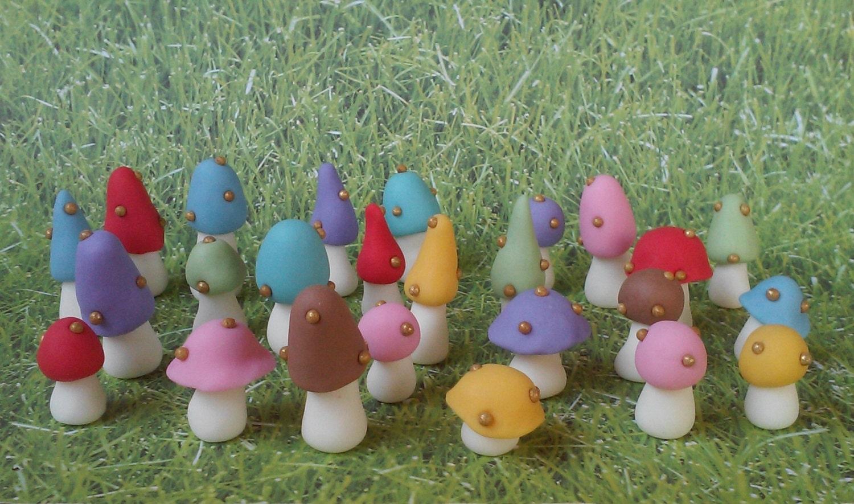 24 Fondant Mushrooms cake or cupcake toppers