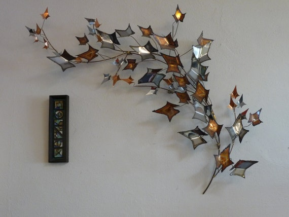 Curtis Jere Wall Sculpture Autumn Leaves Avant Garde Mid