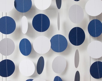 Party Paper Circle Garland, Navy Blue & White, Birthday Party, Graduation, Shower, All Occasion, Decoration, Party Decor 12'