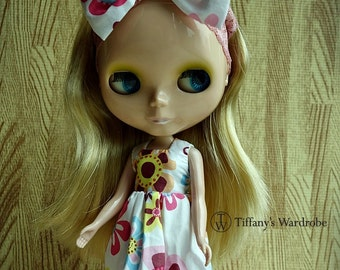 One piece white dress with a matching headband for Blythe