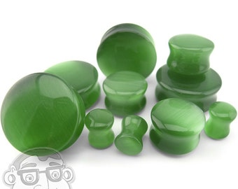 Green Cat's Eye Glass Plugs - Sizes / Gauges (8G - 1 Inch) - New!
