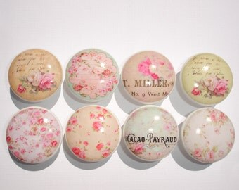 Set of 8 Shabby Pink Rose Cottage Dresser Drawer Knobs