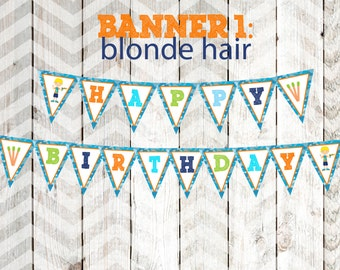 Boy's Dart Gun Party Banner Boy's Dart Tag Party Banner Happy Birthday Banner Blonde Hair