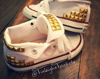 Studded Converse Bling Shoes, Gold Studs on Converse, Personalized Custom Converse,