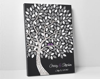 "Custom Wedding Guest Book // Alternative Wedding Guest Book // Wedding Tree Guestbook // Stretched Canvas // 100-150 Signatures - 16""x20"""