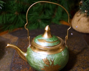 Vintage DECORATIVE Cloisonne Brass Teapot Made in India