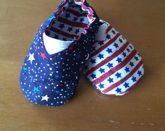 Fourth of July Reversible Soft Soled Baby Shoes