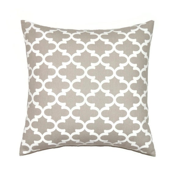 Ecru Pillow Cover Tan 16x16 Pillow Cover Taupe Accent Couch