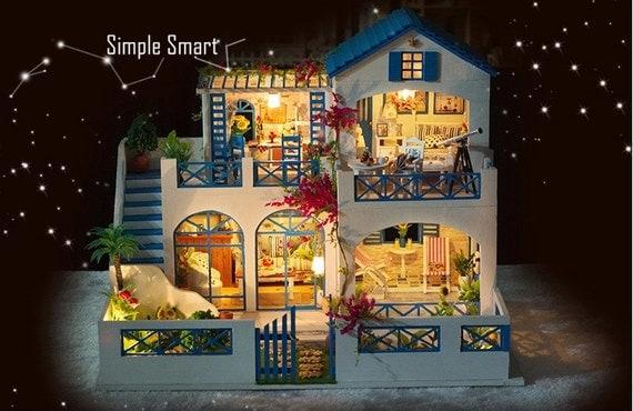 miniatur puppenhaus diy kit shooting star garten mit led licht. Black Bedroom Furniture Sets. Home Design Ideas
