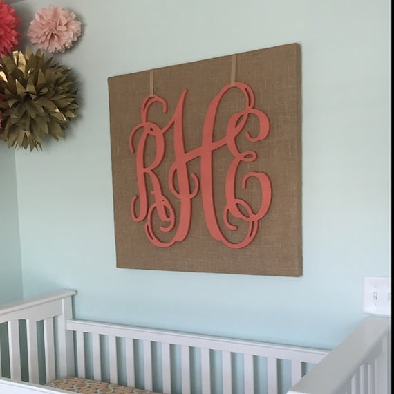 nursery decor wall monogram wooden wall letters vine. Black Bedroom Furniture Sets. Home Design Ideas