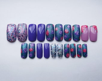 Glitter rose fake nails