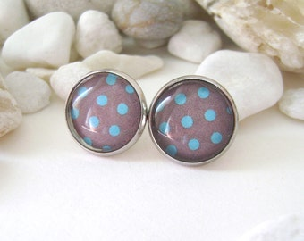 Ear studs polka-dot . Earrings brown with turquoise polka dots