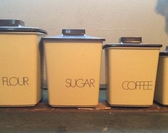 Vintage Brown Tan Plastic Nesting Canisters - Flour, Sugar, Coffee & Tea
