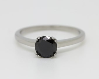Genuine 1ct Onyx solitaire ring in Titanium or White Gold - engagement ring - wedding ring - handmade ring