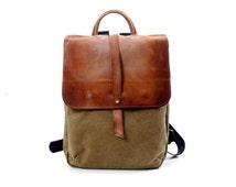 "11""/ 13""/ 15"" Faded Leather and Canvas Laptop Backpack - Canvas Rucksack- distress Leather Bag Tote,  shoulder bag, hobo bag Travel bag"