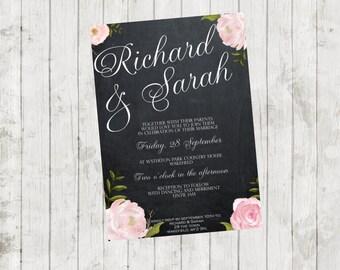 printable chalkboard wedding invitation, roses wedding invitation, printable wedding invitation, digital wedding invitation, you print