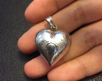 Vintage sterling silver handmade pendant, heart shaped mexico 925 silver pendant