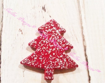 Glitter Christmas tree bead/bow center