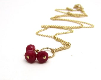 Genuine ruby necklace, delicate red ruby cluster necklace, July birthstone necklace, wire wrapped ruby birthstone pendant, gold ruby jewelry