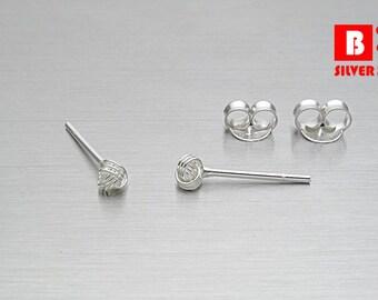 925 Sterling Silver Earrings, Knot Earrings, Stud Earrings, Size 2.5 mm (Code : E36Z)