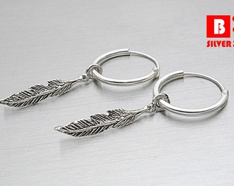 925 Sterling Silver Earrings, Oxidized Feather Hoop Earrings (Code : EY24)