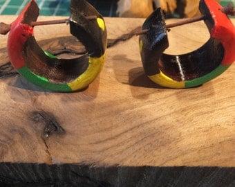 Carved Wood Hand Painted Rasta Hoop Earrings
