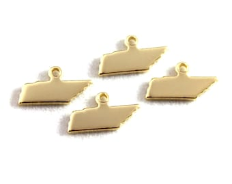 2x Gold Plated Blank Tennessee State Charms - M115-TN