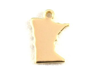 2x Gold Plated Blank Minnesota State Charms - M115-MN