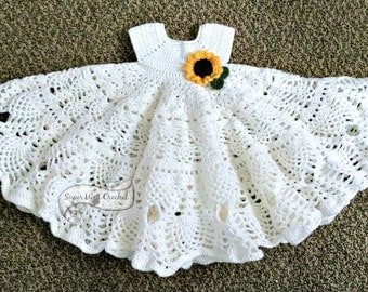 Pineapple Lace Crochet Baby Dress Pattern