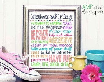 Playroom Rules Subway Art - Playroom Decor - Rainbow Decor - Colorful Decor - Kids Room Decor - Playroom Printable Art - Rule of Play - Art