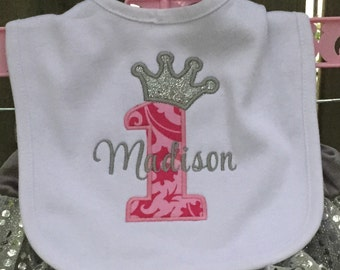 Personalized Princess Crown 1st Birthday Bib