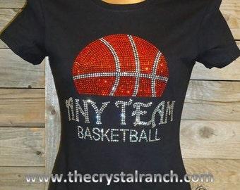 Your Basketball Team Custom Rhinestone Tee TP038