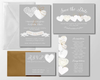 Personalised Wedding Invitations - Marnie - Hearts
