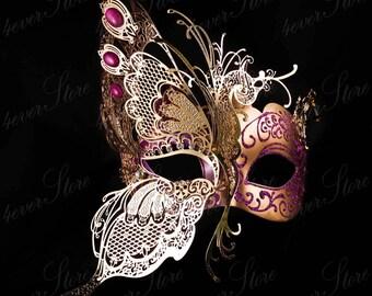 Gold Butterfly Venetian Masquerade Mask w/ Purple Glitters & Jewels