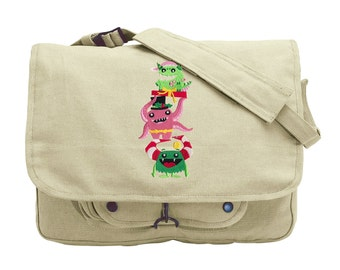 Merry Monster Trio Embroidered Canvas Messenger Bag