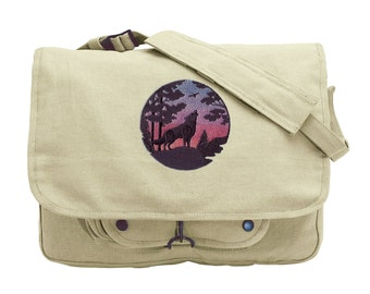 Wolf Bag, Wolf Messenger Bag, Wolf Silhouette at Sunset Embroidered Canvas Messenger Bag