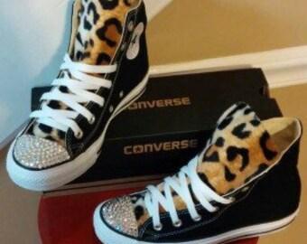 Leopard Print Swarovski Crystal Converse Shoes