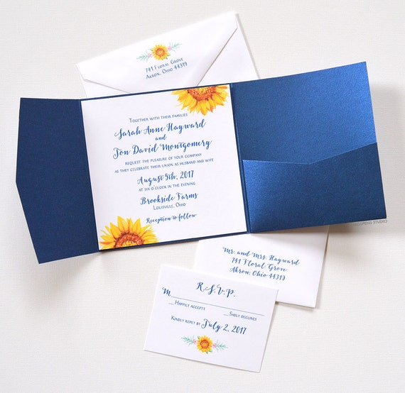 Wedding Invitation Folders With Pocket: Pocket Folder Wedding Invitation 60 Sunflower Wedding