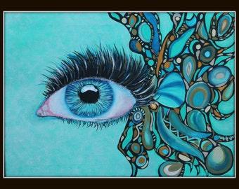 Giclee PRINT 8x10 Blue Eye Graffiti Fish Style Portrait Acrylic Painting Portrait Bold Eyes Woman Lady Abstract Contemporary Wall Art
