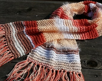 Peach Scarf Coral Scarf Spring scarf  knitted scarf  trendy scarf boho scarf Tribal Scarf gift for her Soft Scarf  (0415CA)
