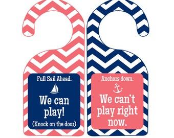 Nautical Door Hanger for Summer- We Can Play or We Can't Play Doorhanger