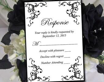 "Wedding RSVP Template - Invitation RSVP Black ""Diana"" Response Card Printable Wedding Invitation RSVP Card  Download"