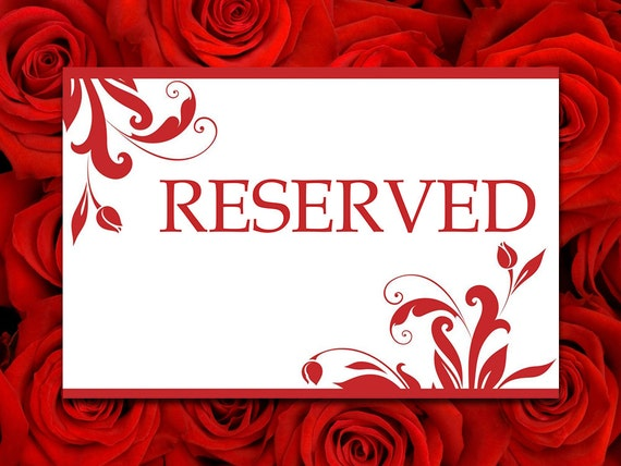 Printable wedding reserved card template reserved seating for Reserved seating signs template