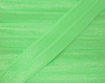 Neon Green Fold Over Elastic - Elastic For Baby Headbands and Hair Ties - 5 Yards of 5/8 inch FOE