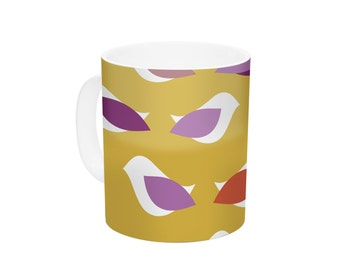 "Ceramic Coffee Mug - Pellerina Design ""Golden Orchid Birds  - Great Gift!"