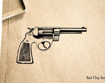 Pistol #1 Rubber Stamp - 2 x 2 inches