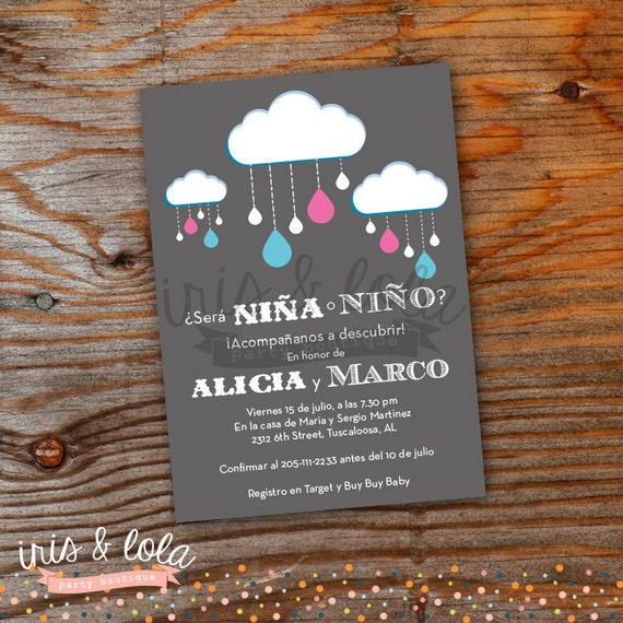 spanish gender reveal baby shower printable digital invitation