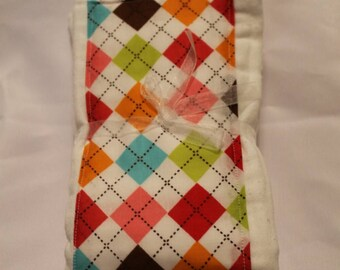 Set of 2 Multi Colored Argyle Cloth Diaper Burp Cloths