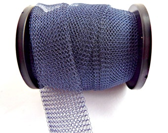 Blue Wire Mesh, Knitted Wire, Blue Artistic Wire, Colored Copper Wire, Knit Wire Tube, 1 to 10 Metres, 15mm Wire, Jewelry Wire, UK Seller